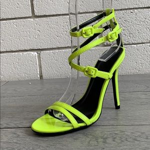 Size 5 Neon Yellow Strappy high heel sandal